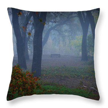 Lonely Park Bench In The Fog Throw Pillow