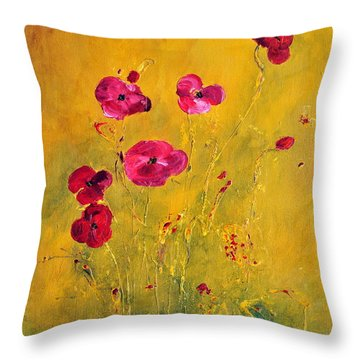 Lonely Poppies Throw Pillow