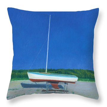 Lonely Sailboat Throw Pillow