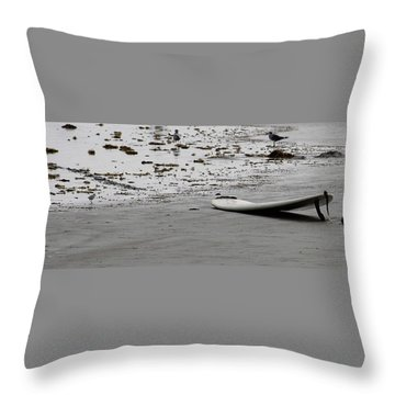 Throw Pillow featuring the photograph Lonely Surfboard by Chris Thomas