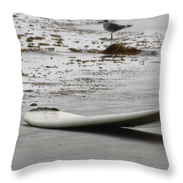 Lonely Surfboard Lg Throw Pillow by Chris Thomas