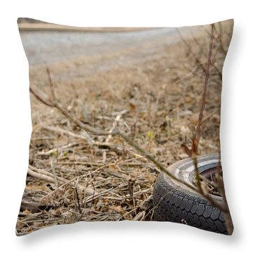 Lonely Tire Throw Pillow