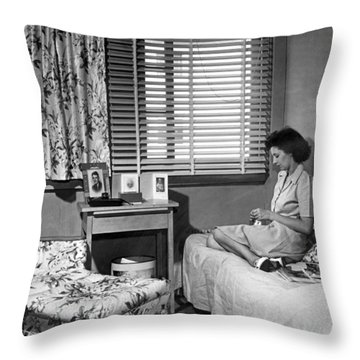 Lonely World War II War Worker Throw Pillow