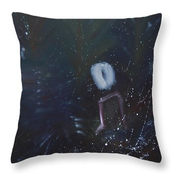 Throw Pillow featuring the painting Lonesome by Min Zou