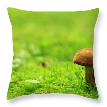 Lonesome Wild Mushroom On A Lush Green Meadow Throw Pillow