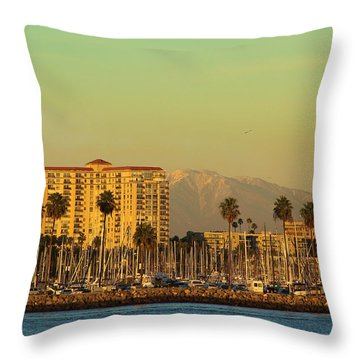 Long Beach Coast Throw Pillow