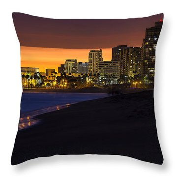 Long Beach Comes Alive At Dusk By Denise Dube Throw Pillow
