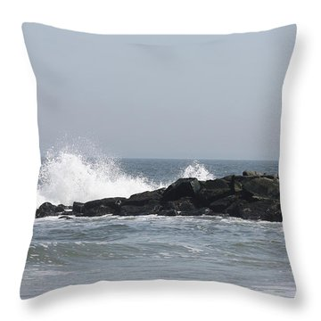 Long Beach Jetty Throw Pillow