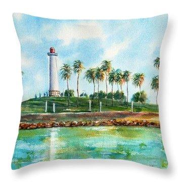 Long Beach Lighthouse  Version 2 Throw Pillow