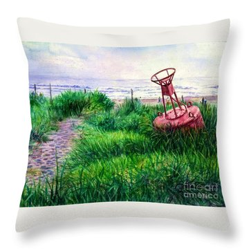 Long Beached Buoy Throw Pillow