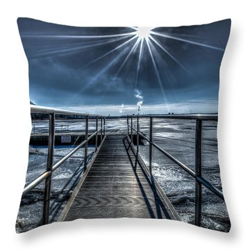 Throw Pillow featuring the photograph Long Dock On The Icy Hudson by Rafael Quirindongo