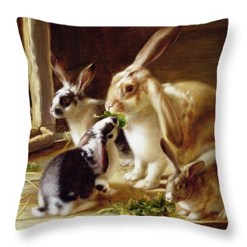 Long-eared Rabbits In A Cage Watched By A Cat Throw Pillow