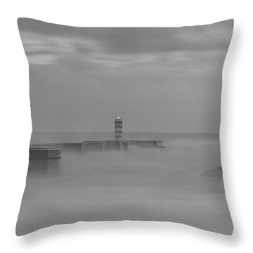 Long Exposure In Oporto In Bad Weather Throw Pillow