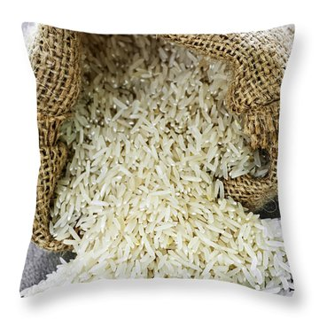Long Grain Rice In Burlap Sack Throw Pillow by Elena Elisseeva