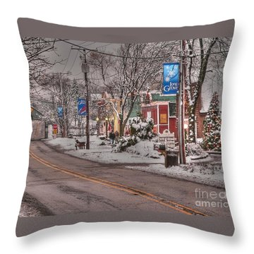 Long Grove In Snow Throw Pillow