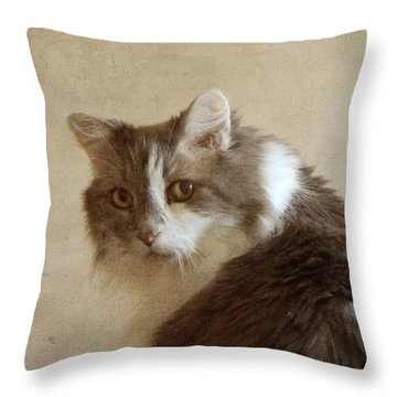 Long-haired Cat Portrait Throw Pillow