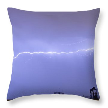 Long Lightning Bolt Strike Across Oil Well Country Sky Throw Pillow by James BO  Insogna