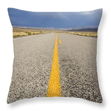 Long Lonely Road Throw Pillow by Adam Romanowicz