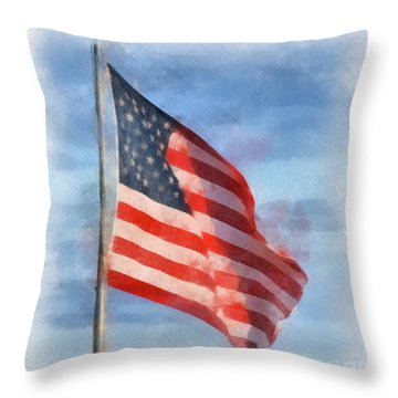 Long May She Wave Throw Pillow by Kerri Farley