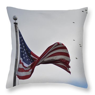 Long May You Wave Throw Pillow by Bill Cannon