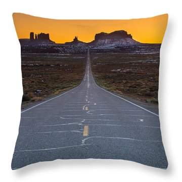 Long Road To Monument Valley Throw Pillow