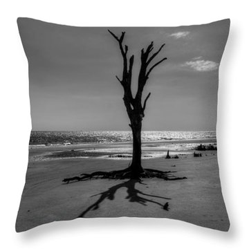 Long Shadow On Jekyll Island In Black And White Throw Pillow