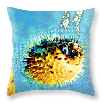 Long-spine Fish Throw Pillow by Daniel Janda