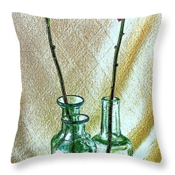 Long Stem Dahlias Throw Pillow