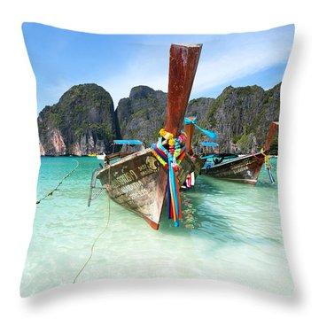 Long Tail Boats At Maya Beach - Ko Phi Phi - Thailand Throw Pillow