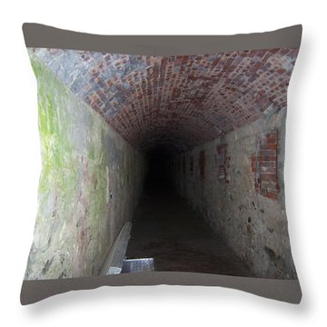long tunnel in Ft Adams Throw Pillow by Catherine Gagne