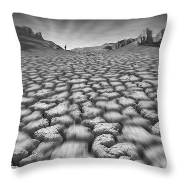 Long Walk On A Hot Day Throw Pillow by Mike McGlothlen
