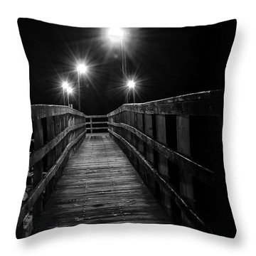 Throw Pillow featuring the photograph Long Walk On A Short Pier by Terry Garvin