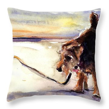 Long Walks And Sunsets Throw Pillow by Molly Poole