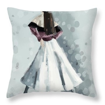 Long White Skirt And Black Sequined Hat Fashion Illustration Art Print Throw Pillow