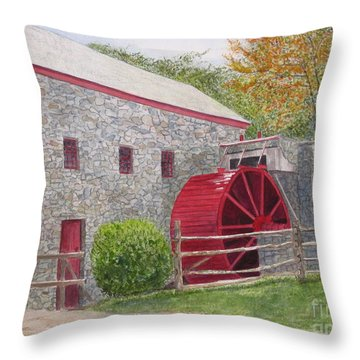 Longfellow's Gristmill Throw Pillow by Carol Flagg