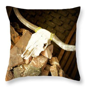 Throw Pillow featuring the photograph Longhorn by Erika Weber