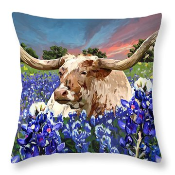 Longhorn In Bluebonnets Throw Pillow