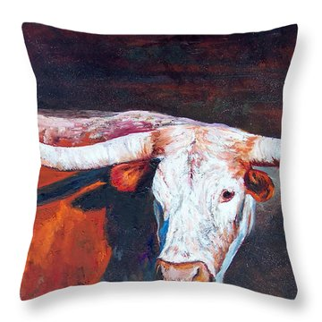 Throw Pillow featuring the painting Longhorn Legacy by Karen Kennedy Chatham