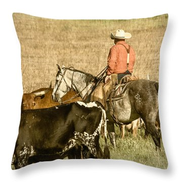 Throw Pillow featuring the photograph Longhorn Round Up by Steven Bateson