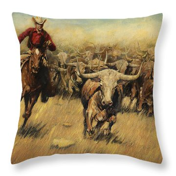 Longhorn Stampede Throw Pillow