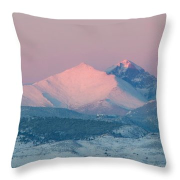 Longs Peak Alpenglow In Winter Throw Pillow