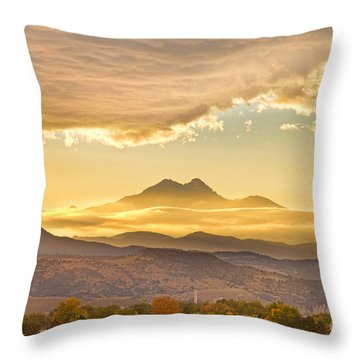 Longs Peak Autumn Sunset Throw Pillow