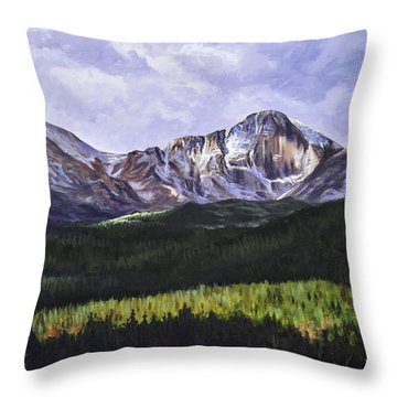 Longs Peak Glowing Throw Pillow