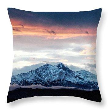 Longs Peak In Winter Throw Pillow