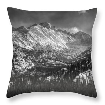 Longs Peak Rocky Mountain National Park Black And White Throw Pillow by Ken Smith