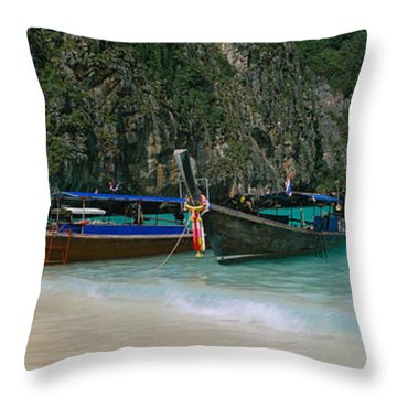 Longtail Boats Moored On The Beach, Ton Throw Pillow