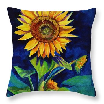 Midnight Sunflower Throw Pillow