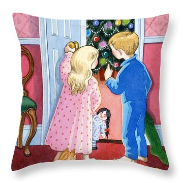 Look At The Christmas Tree Throw Pillow by Lavinia Hamer