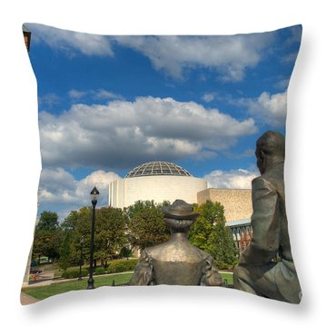 Look What They Built For Us Kitty Throw Pillow by Mark Dodd