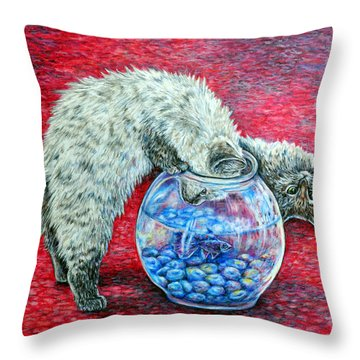 Lookin For Some Betta Kissin Throw Pillow by Gail Butler
